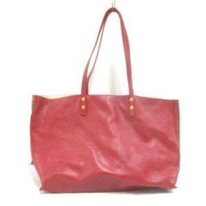 Auth Chloe Dilan Red Leather Tote Bag #1679C15